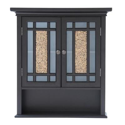 Winfield 24 in. H x 22 in. W x 7 in. D Wall Cabinet in Espresso Color with Mosaic Glass