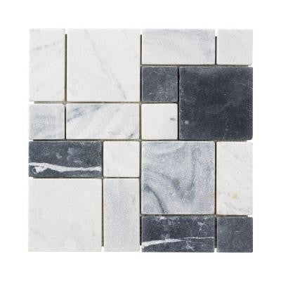 Carrara Block 12 in. x 12 in. x 8 mm Marble Mosaic Floor/Wall Tile