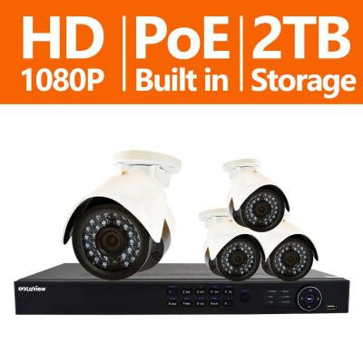 8-Channel Full HD IP Indoor/Outdoor Surveillance 2TB NVR System with (4) 1080P Cameras Free Remote View & Motion Record