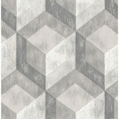 8 in. W x 10 in. H Ash Rustic Wood Tile Geometric Wallpaper Sample