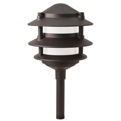 Low Voltage 11-Watt Black Incandescent 3-Tier Halogen Path Light