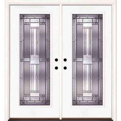 74 in. x 81.625 in. Preston Patina Full Lite Unfinished Smooth Fiberglass Double Prehung Front Door