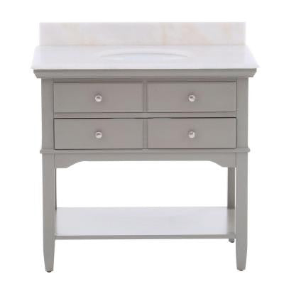 Cannes 36 in. Vanity in Distressed Grey with Marble Vanity Top in White with White Basin