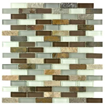 Tessera Subway Tundra 11-3/4 in. x 11-3/4 in. x 8 mm Glass and Stone Mosaic Wall Tile
