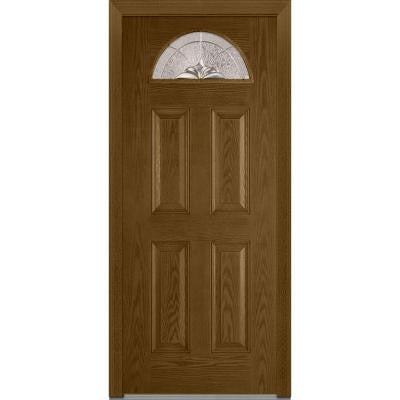32 in. x 80 in. Heirloom Master Decorative Glass 1/4 Lite Finished Oak Fiberglass Prehung Front Door