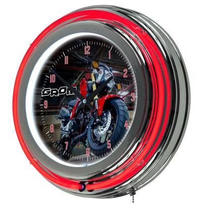 3 in. x 14 in. Honda Grom Chrome Double Ring Neon Clock