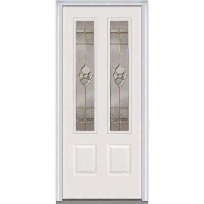 36 in. x 80 in. Master Nouveau Decorative Glass 2 Lite 2-Panel Primed White Fiberglass Smooth Prehung Front Door
