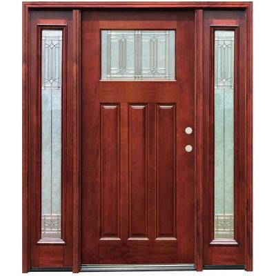 70 in. x 80 in. Diablo Craftsman 1 Lite Stained Mahogany Wood Prehung Front Door w/ 6 in. Wall Series & 14 in. Sidelites
