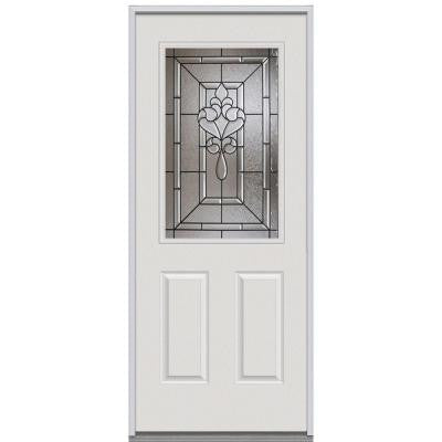 32 in. x 80 in. Fontainebleau Decorative Glass 1/2 Lite 2-Panel Primed White Steel Replacement Prehung Front Door