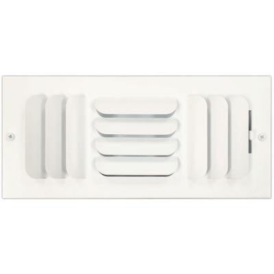 4 in. x 10 in. Ceiling or Wall Register with Curved 3-Way Deflection, White