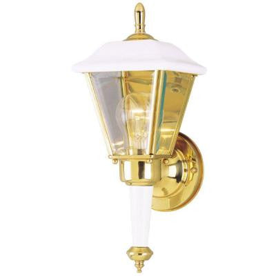1-Light White Steel Exterior Wall Lantern with Polished Brass Accents and Clear Beveled Glass Panels