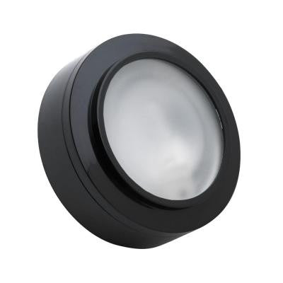 Zeepuk 1-Lamp Xenon Black Puck Light with Frosted Glass