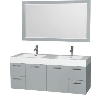 Amare 60 in. W x 21.75 in. D Vanity in Dove Gray with Acrylic Resin Vanity Top in White with White Basins and Mirror