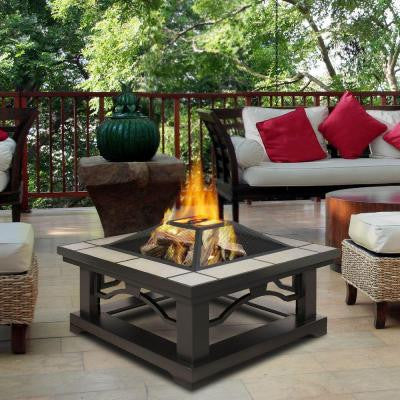 Crestone 34 in. Steel Framed Wood-Burning Fire Pit with Grey Tile