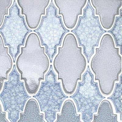 Roman Selection Iced Blue Arabesque 12-1/4 in. x 13-3/4 in. x 8 mm Glass Mosaic Tile