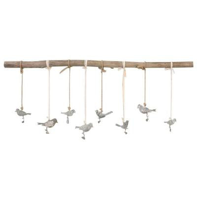 23.25 in. x 44.5 in. Natural Elmwood Branch with Iron Birds Wall Art