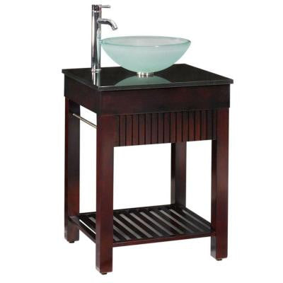 Lofty 25 in. W x 22 in. D Vanity in Dark Walnut with Granite Vanity Top in Black
