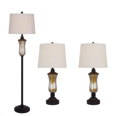 Bronze Seeded Glass and Metal Lamp Set (3-Piece)