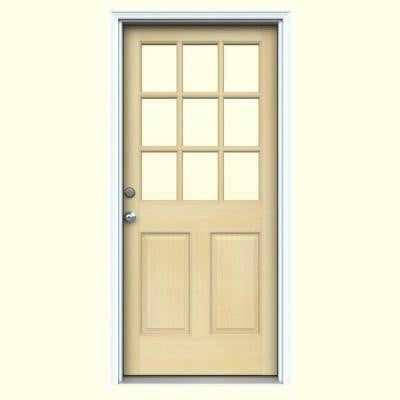 32 in. x 80 in. 9 Lite Unfinished Hemlock Prehung Front Door with Primed White AuraLast Jamb and Brickmold