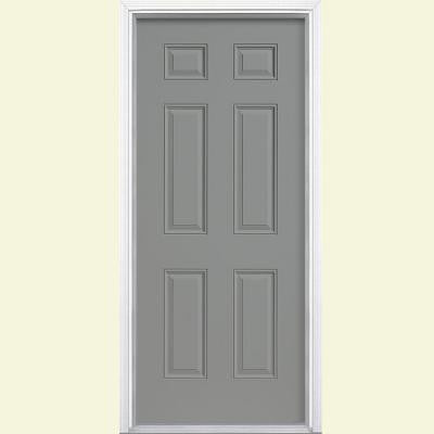 32 in. x 80 in. 6-Panel Painted Smooth Fiberglass Prehung Front Door with Brickmold