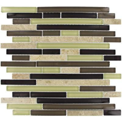 Aspen Interlocking 12 in. x 12 in. x 8 mm Glass Stone Mesh-Mounted Mosaic Tile