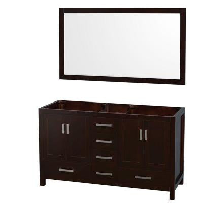 Sheffield 59 in. Double Vanity Cabinet with 58 in. Mirror in Espresso