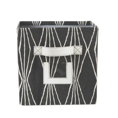 10.75 in. W x 11 in. H Charcoal Fabric Storage Bin with Handle