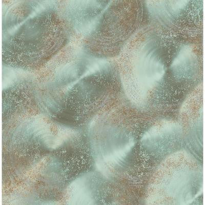 8 in. W x 10 in. H Turquoise Tarnished Metal Metallic Texture Wallpaper Sample