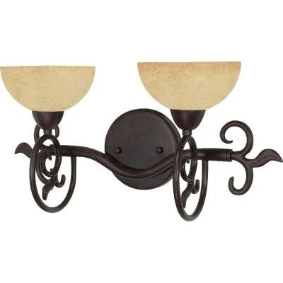 2-Light Old Bronze Vanity Light with Tuscan Suede Glass
