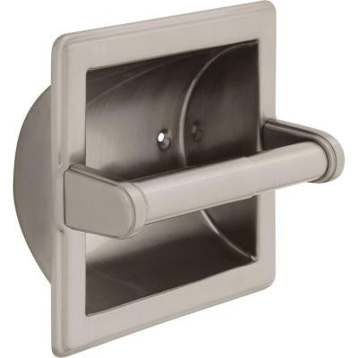 Recessed Toilet Paper Holder with Roller in Satin Nickel