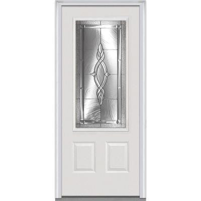 32 in. x 80 in. Brentwood Decorative Glass 3/4 Lite 2-Panel Primed White Majestic Steel Prehung Front Door