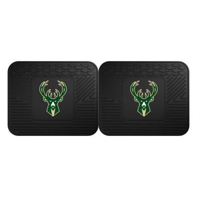 NBA Milwaukee Bucks Black Heavy Duty 2-Piece 14 in. x 17 in. Vinyl Utility Mat