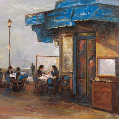 "32 in. x 32 in. ""Bistro Lunch II"" Hand Painted Contemporary Artwork"