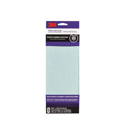 Pro Grade 4-3/16 in. x 11-1/4 in. 100-Grit Drywall Sanding Sheet (5-Pack)