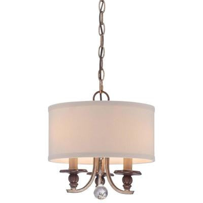 Gwendolyn Place 3-Light Dark Rubbed Sienna with Aged Silver Mini Chandelier