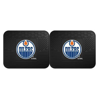 NHL Edmonton Oilers Black Heavy Duty 14 in. x 17 in. 2-Piece Vinyl Utility Mat