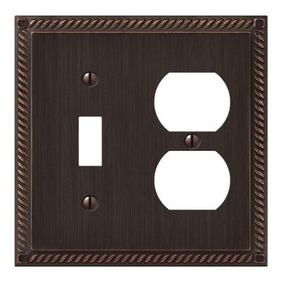 Georgian 1 Toggle 1 Duplex Wall Plate - Aged Bronze