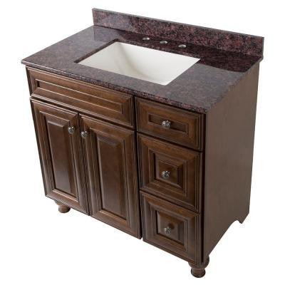 Templin 37 in. Vanity in Coffee with Stone Effects Vanity Top in Tan Brown