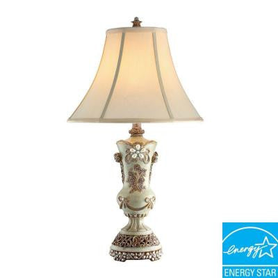 28 in. H White Vintage Rose Table Lamp