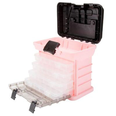 Parts and Crafts Rack Style Pink Tool Box with 4 Organizers