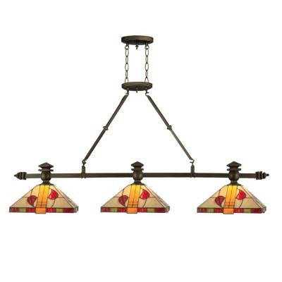 3-Light Antique Brass Tiffany Island Rose Fixture