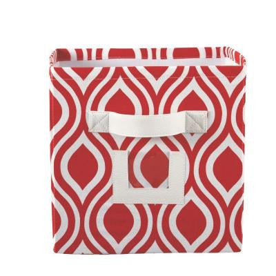 10.75 in. W x 11 in. H Nichole Lipstic Fabric Storage Bin with Handle