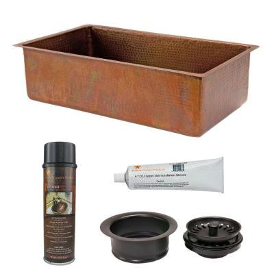 Undermount Hammered Copper 33 in. 0-Hole Single Bowl Kitchen Sink in Antique Copper and Drain