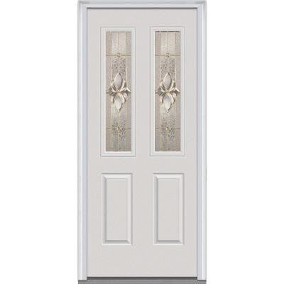 30 in. x 80 in. Heirloom Master Decorative Glass 2 Lite 2-Panel Primed White Majestic Steel Prehung Front Door