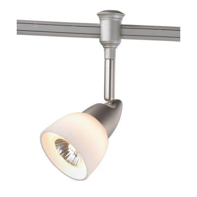 1-Light Brushed Nickel Flexible Track Lighting Head with White Glass Shade