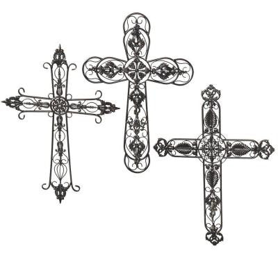 Sundry 32 in. Antique Bronze Metal Wall Cross Set (Set of 3)