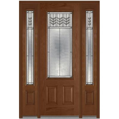 64 in. x 96 in. Prairie Bevel Decorative Glass 3/4-Lite Finished Oak Fiberglass Prehung Front Door with Sidelites