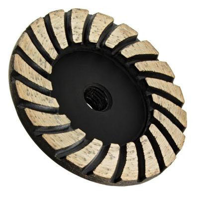 4 in. x 5/8 in.-11 Thread Coarse Grit Turbo Diamond Grinding Wheel for Stone Grinding