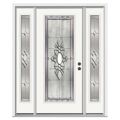 36 in. x 80 in. Langford Full Lite Primed Premium Steel Front Door with Sidelites