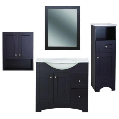 Del Mar Bath Suite with 37 in. Vanity with Vanity Top in Linen Tower Over John and Wall Mirror in Espresso